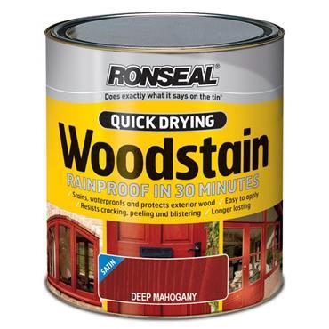 Ronseal Quick Drying Woodstain Satin Deep Mahogany 750ml