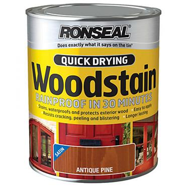 Ronseal Quick Drying Woodstain Satin Antique Pine 750ml