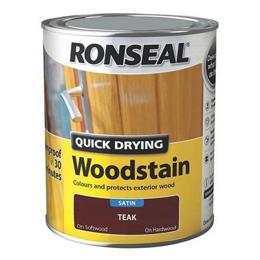 Ronseal Quick Drying Woodstain Satin Teak 750ml