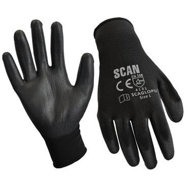 Scan Black PU Coated Gloves L (Size 9)