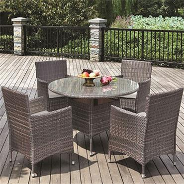 Grey Rattan Round 4 Seater Set with Grey Cushions