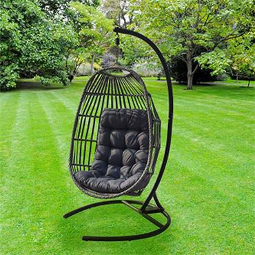 Rattan Single Egg Chair Grey