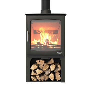 Henley Stoves Hazelwood 5kW Woodburning Stove (Optional Logstore) Matt Black