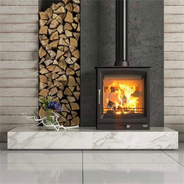 Henley Stoves Burnbright Woodburning Stove (Optional Logstore) Matt Black