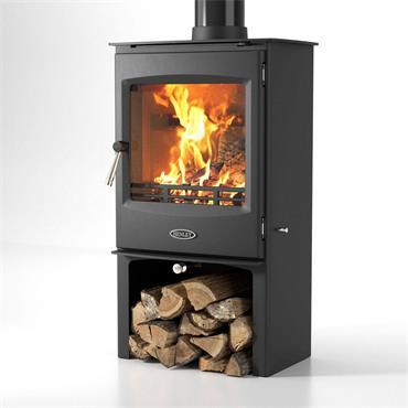 Henley Stoves Lincoln Wood Burning Stove & Logstore Matt Black