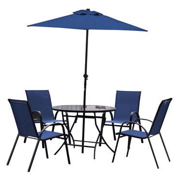 Naples Blue 4 Seater Round Dining Set