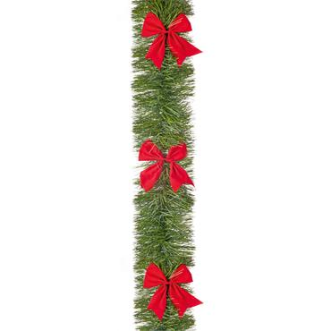 Green Tinsel with Red Bows 6 Ply