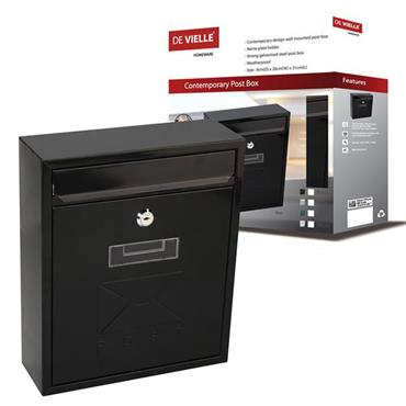 De Vielle Contemporary Post Box Black