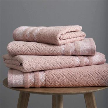 Catherine Lansfield Malawa Geo Bands Blush Bath Towel