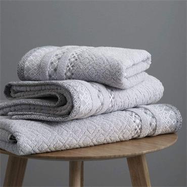 Catherine Lansfield Malawa Geo Bands Silver Hand Towel