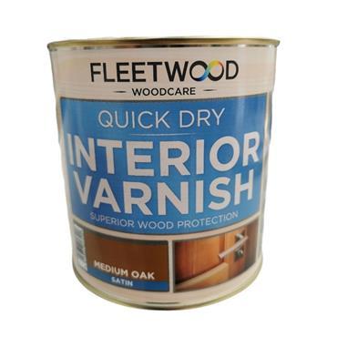 Fleetwood Quick Dry Satin Varnish Medium Oak 1L