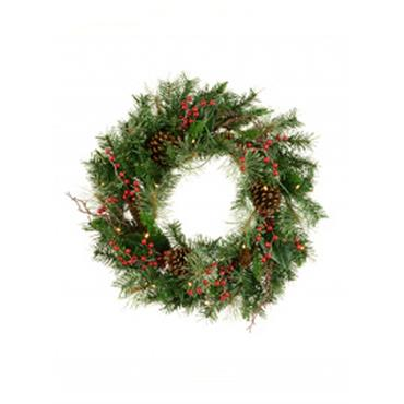 Prelit Mixed Pine and Berry Wreath 60cm