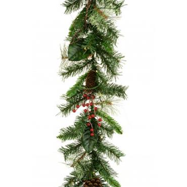 Prelit Mixed Pine and Berry Garland 180cm