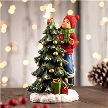Belleek Boy Placing Angel On Tree Led