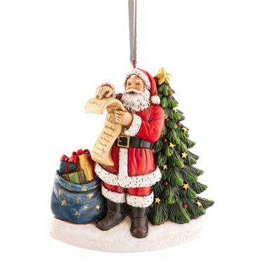 Aynsley Santa Checking His List Hanging Ornament