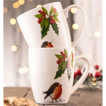 Aynsley Classic Christmas Robin Mug 2pce