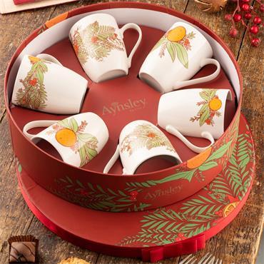 Aynsley Christmas Wreath Mugs Hatbox 6pce