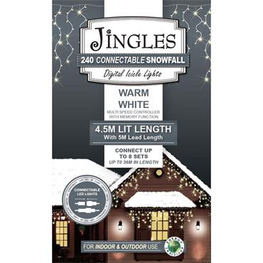 Mercer 240 Warm White LED Connectable Snowfall Icicle Lights