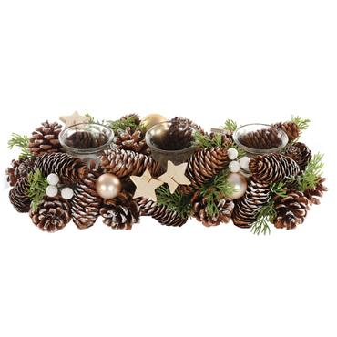 37cm Festive 3 Candle Holder With Stars & Cones