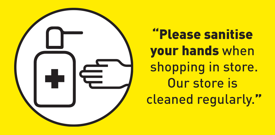 Santise your hands when entering our shop