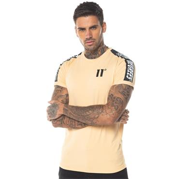 Taped Muscle Fit T-Shirt, Peach - 11 Degrees