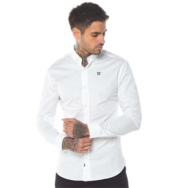11Degrees Long Sleeve Contrast Logo Shir - White