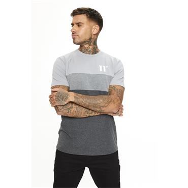 11 Degrees Triple Panel T-Shirt - Antracite Marl Mid Grey And Silver