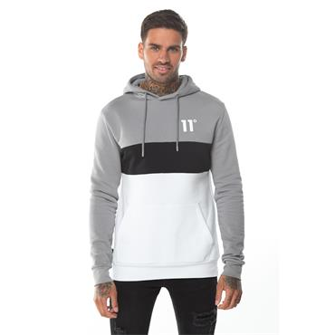 Triple Panel Pullover Hoodie - Silver/white/black