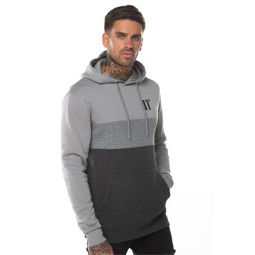 11 Degrees Triple Panel Pullover Hoody - Antracite Marl Mid Grey And Silver