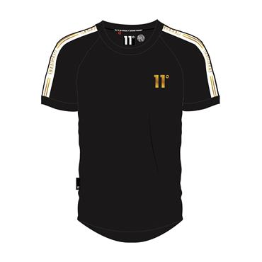 RINGER T-SHIRT - Black And Gold Taped