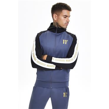 Gold Taped Poly Track Top - Antra/black