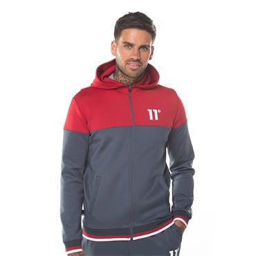 11 Degrees Poly Hood With Zip - ANTHRACITE & SKI PATROL RED