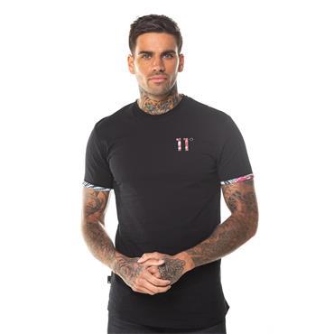 11 Degrees Logo T Shirt - Black Leaf