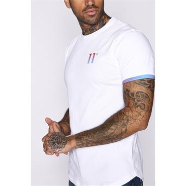 Logo T-Shirt - WHITE / RED AND BLUE FADE
