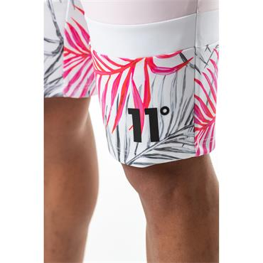 Triple Panel High Leg Poly Shorts - Light Pink, Black Leaf And White