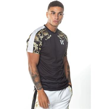 PRINTED CONTRAST PANEL T-SHIRT - Black White Gold