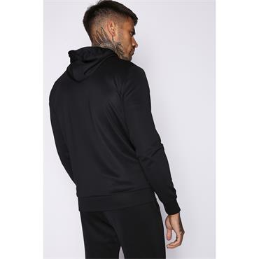 COLOUR POP TRIMS HOODED POLY TRACK TOP - BLACK / HOT RED