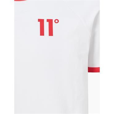 11 Degrees Ringer T-Shirt - WHITE / SKI PATROL Red