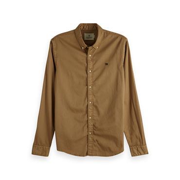 Regular Fit-Classic Garment Dyed Shirt - Walnut
