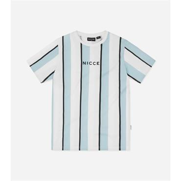 Nicce Stripe T Shirt - Sterling Blue/white