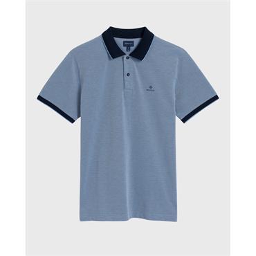 O1.4-Col Oxford Pique Ss Rugger - Palace Blue