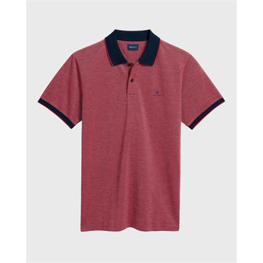 O1.4-Col Oxford Pique Ss Rugger - Bright Red