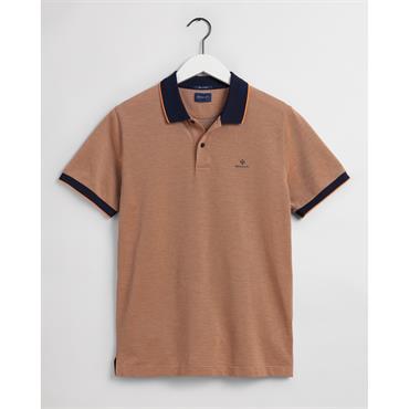 Gant 4 Colour Oxford Pique Polo - Russet Orange