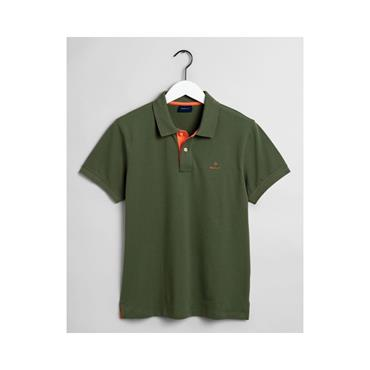 Contrast Collar Pique Polo - 358 Four Leaf Green