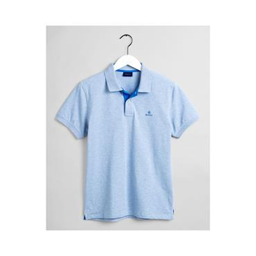 Contrast Collar Pique Polo - Ice Blue Melange