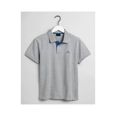 Contrast Collar Pique Polo - Light Grey