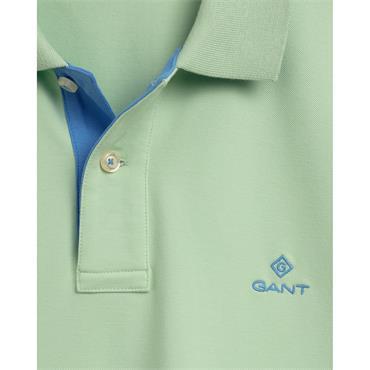 Gant Contrast Collar Pique Polo - Pastel Green