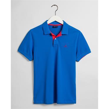 Gant Contrast Collar Pique Polo - NAUTICAL BLUE
