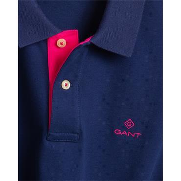 Gant Contrast Collar Pique Polo - Persian Blue