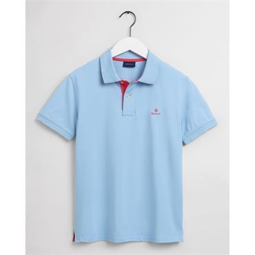 Gant Contrast Collar Pique Polo - Powder Blue